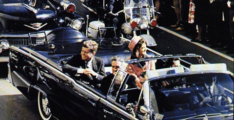 John Fitzgerald Kennedy en aŭto antaŭ la murdo
